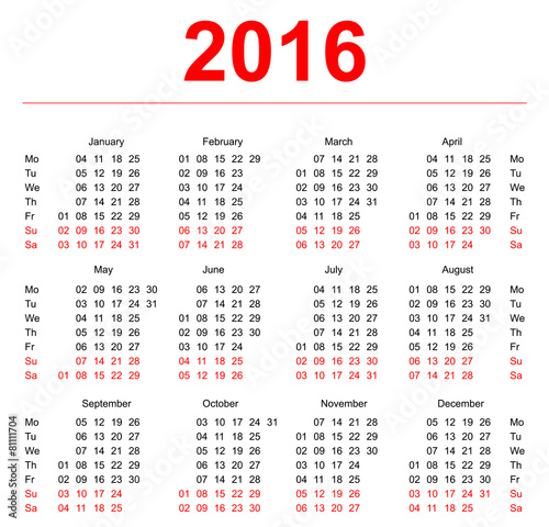 2016 Calendar template Vertical weeks First day Monday - Buy this