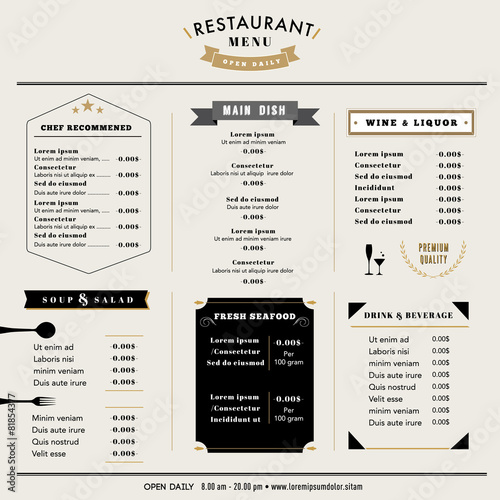 Restaurant Menu Design Template layout Vintage style - Buy this - menu design template
