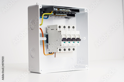 Electrical cabinet with four automatic fuses with wires Ready for