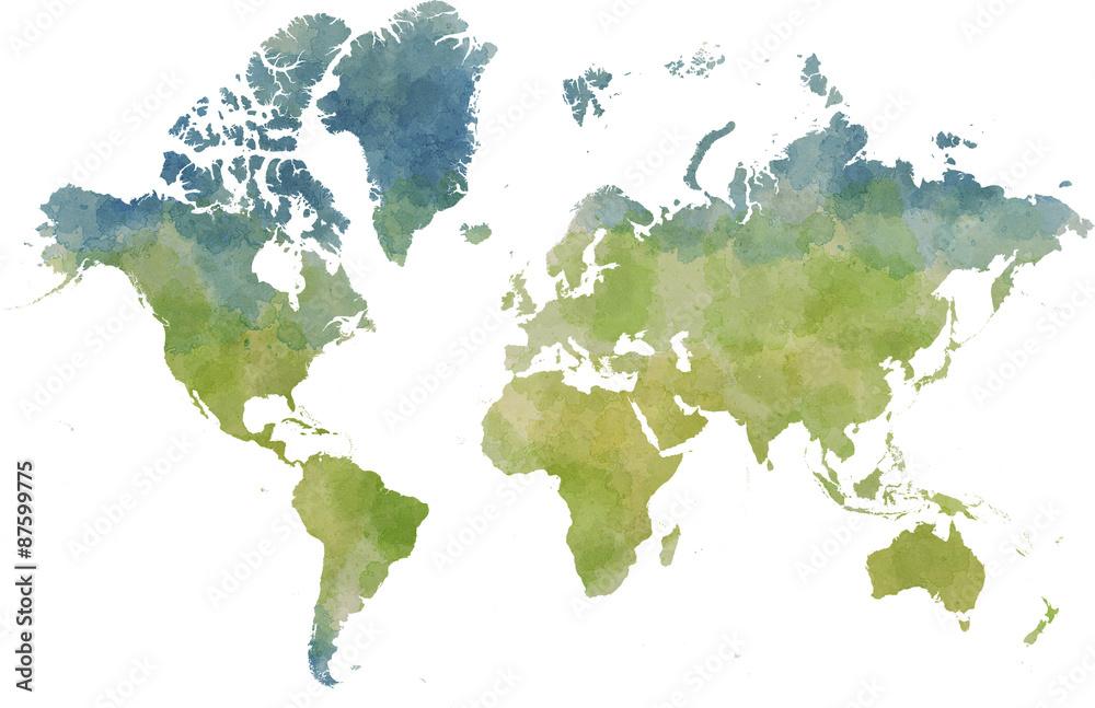 Stampe, Fotografie Cartina mondo, disegnata illustrata pennellate su - cartina mondo