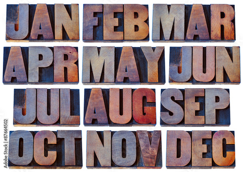 months in wood type - calendar concept - Buy this stock photo and