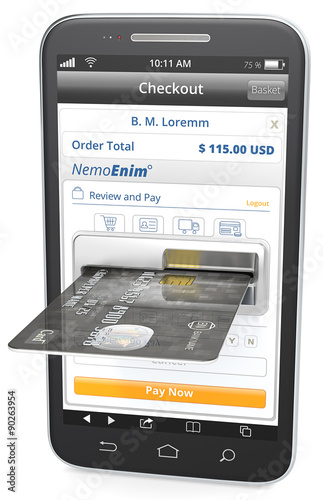 Pay Now Black Smartphone with Credit Card Slot Sample Shop and