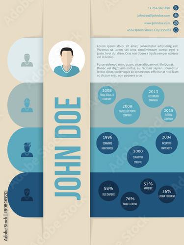 Modern cv curriculum vitae resume template in blue shades - Buy this