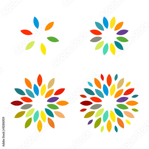 Colorful Sun Flower Star Firework Icon Template - Buy this stock