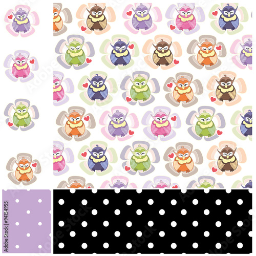 Baby Owls Pattern and Polka Dots,Flowers and Hearts,printable - Buy