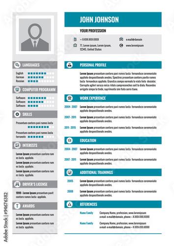Resume - CV - vector concept layout in A4 format Business resume