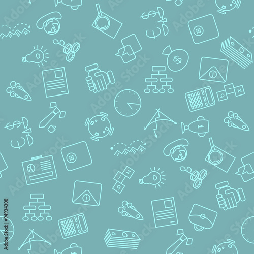 Thin line icons seamless pattern Business, commerce and finance