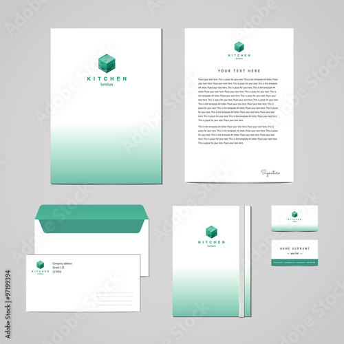 Corporate identity furniture company turquoise design template - letterhead and envelope design