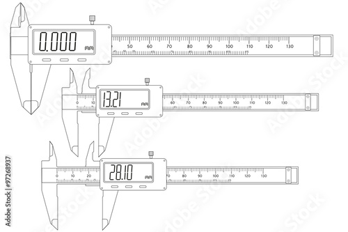 Vernier caliper, digital electronic - Buy this stock vector and