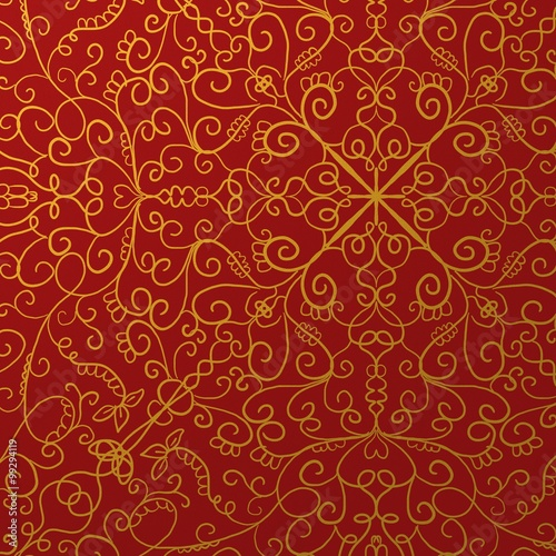 fancy red background with gold ornate design pattern - Buy this