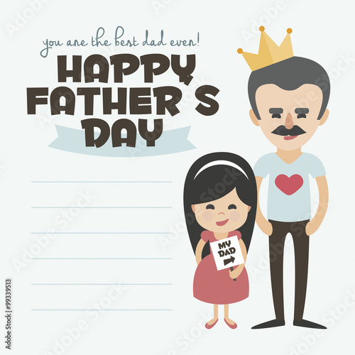 Happy Fathers day card Vector Element Set Dad with mustache and