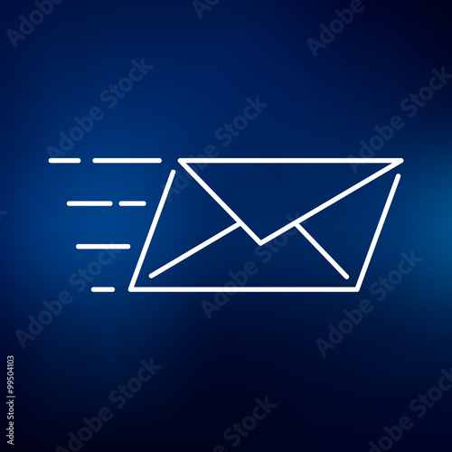 Speed mail icon Email send sign Mail courier symbol Thin line - mail background