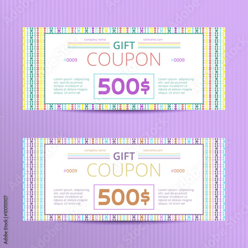 Vector illustration of gift voucher template collection Voucher