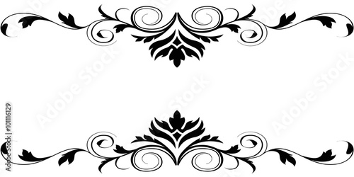 Black white floral borders design - Buy this stock illustration and