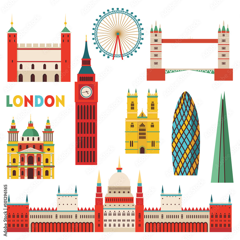 3d Fototapete London Fotografija London Monuments Vector Illustration Na Europosterji Si