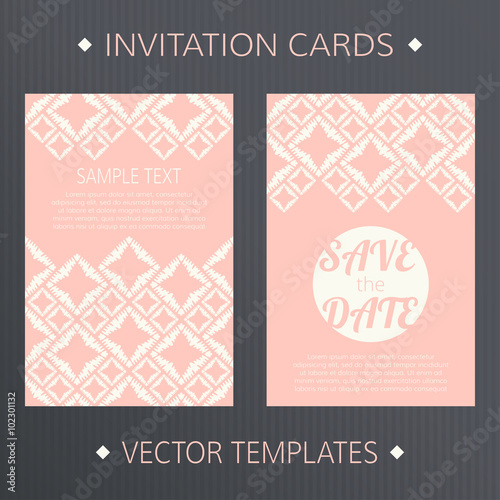 Set of abstract vector cards Two vector templates with ragged