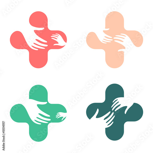 Abstract hand design sign Vector love children logo Cross logo - help and support