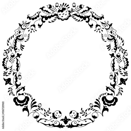 Round black and white border frame with doodle flowers can be used