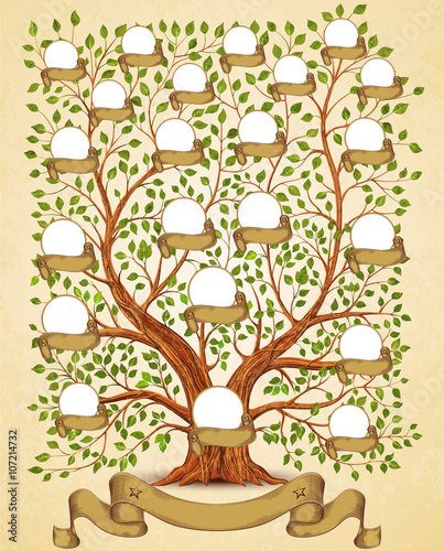 Family Tree template vintage vector illustration - Buy this stock
