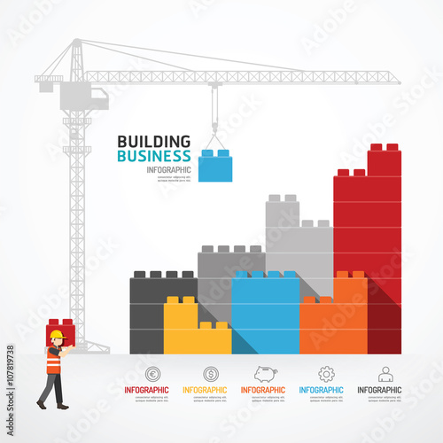 Infographic Template with crane building blocks concept vector