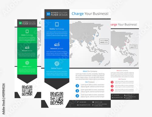 Promotion flyer (leaflet) layout vector design A4 size template