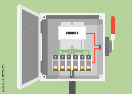 Breakers switch vector flat, fuse vector, electric box, circuit