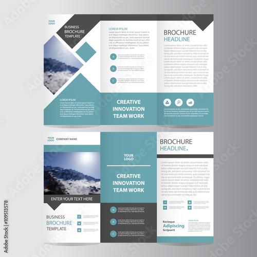 Blue square vector trifold business Leaflet Brochure Flyer template