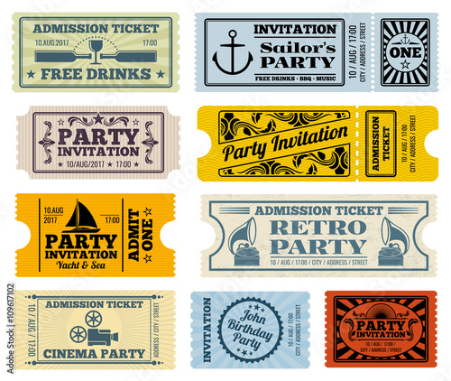 Retro party, cinema, invitation vector tickets set Invitation - ticket paper template