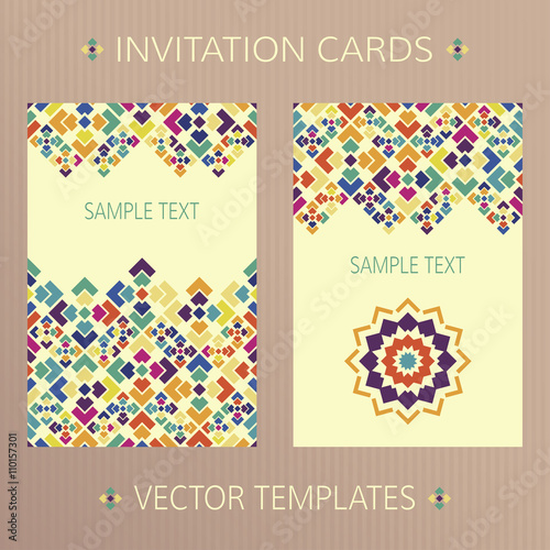 Set of abstract vector cards Two vector templates with bright