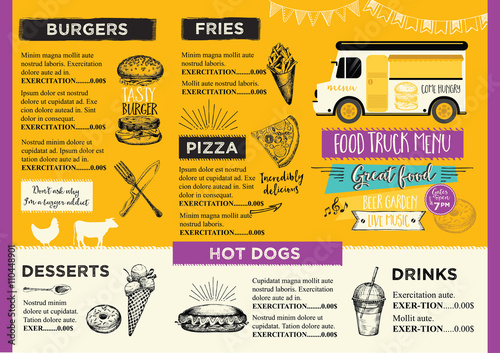 Food truck party invitation Food menu template design Food fly