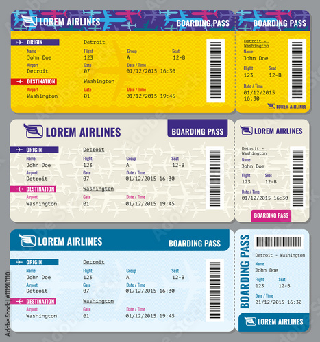 Airplane vector traveling tickets template Ticket to airplane and - airplane ticket template