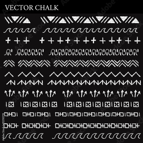 Hand Drawn Chalk Borders Set - Buy this stock vector and explore - chalk borders