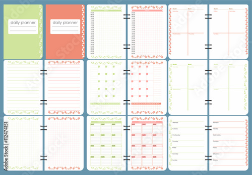 Cute Calendar Daily Planner Template Spring Season Holidays