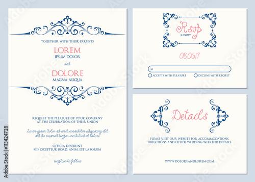 Wedding invitation suite Wedding invitation, Response card, and