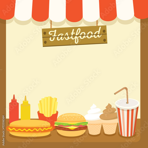 Illustration vector of fastfood drink and dessert menu template for