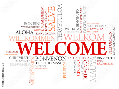 WELCOME word cloud in different languages, concept background - Buy