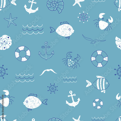 Marine seamless pattern Vector sea background with cute doodle fish