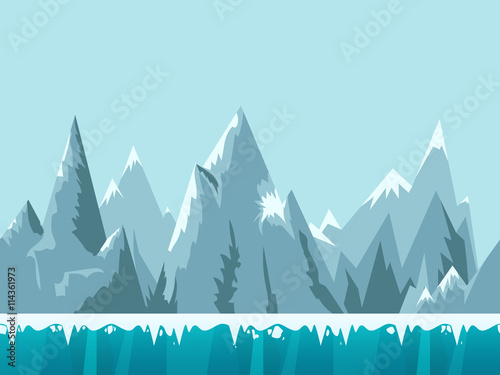 Mountain seamless background illustration for mobile app, web, game