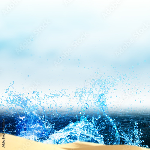 Sea waves and beach, abstract summer vacation backgrounds with c