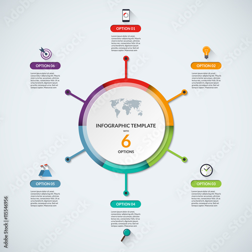 Infographic circle diagram template Business concept with 6 steps