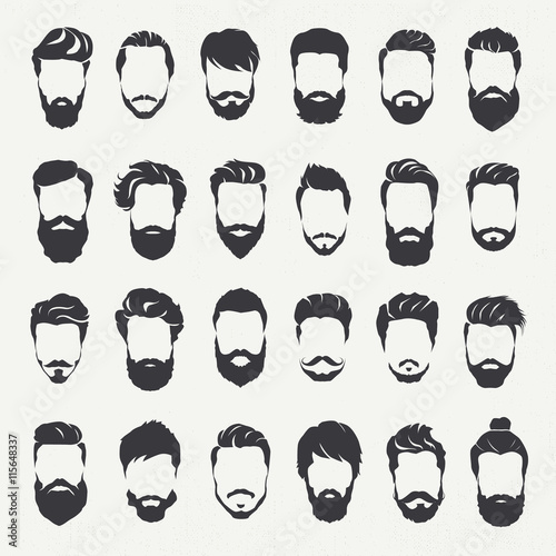 Hipster hair style and beards, Men fashion vector for barbershop and