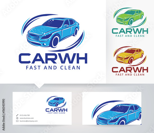 Car Wash vector logo with alternative colors and business card