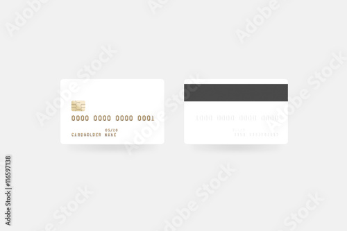 Blank white credit card mockup isolated, clipping path, front and