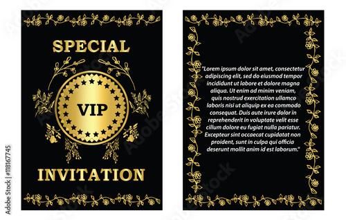 Golden VIP Invitation Card Template- A Golden VIP invitation card