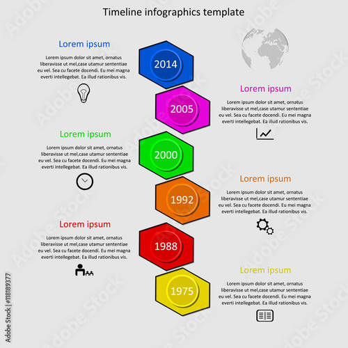Infographic timeline vector Company history template Biggest