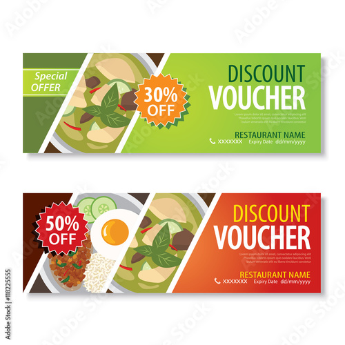 discount voucher template with thai food flat design - Buy this