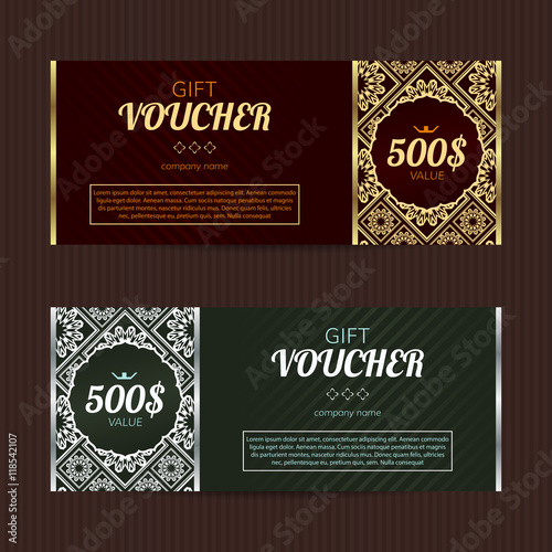 Gift voucher with luxury elegant design Vector template for coupon - coupon layouts
