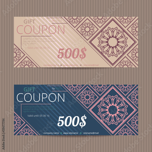 Gift voucher with luxury design Vector template for coupon or