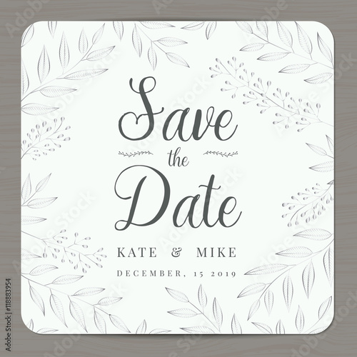 Save the date, wedding invitation card template with silver color - Save The Date Wedding Templates