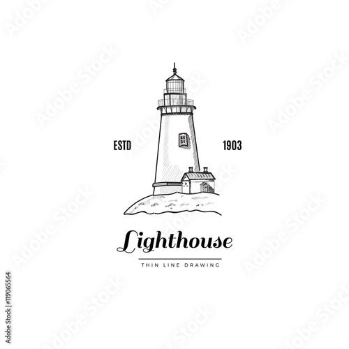 Lighthouse Hand drawn illustration Vector hipster logo Vintage - hipster logo template